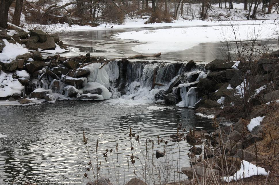 Download Free Stock Photo of Water Fall in Winter
