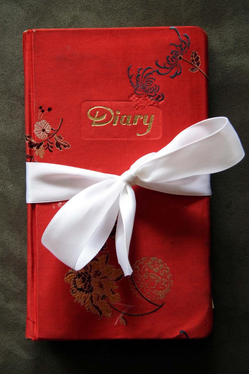Download Free Stock Photo of Red Diary Book with White Bow