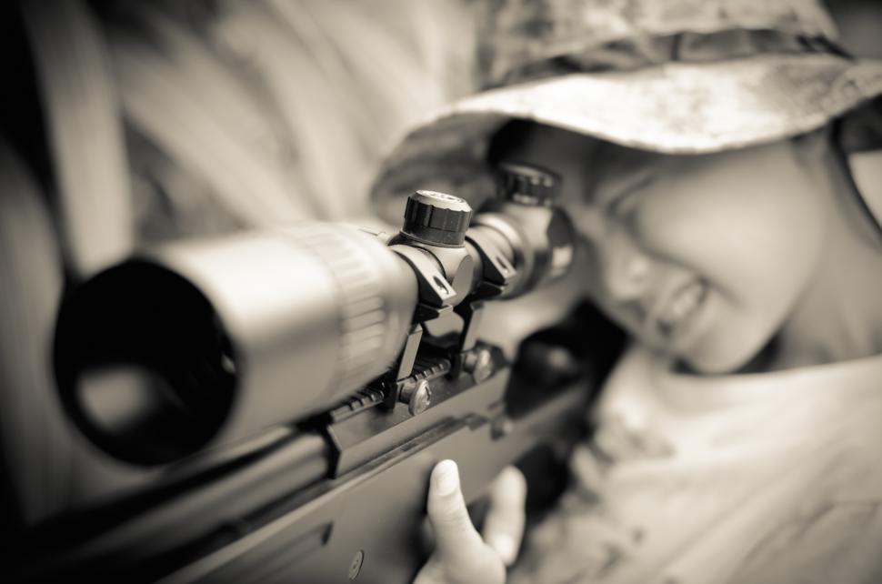 Download Free Stock Photo of Young SniperKid with a rifle gun