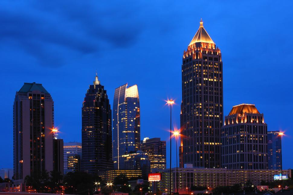 Download Free Stock HD Photo of Atlanta Skyline At Night Online