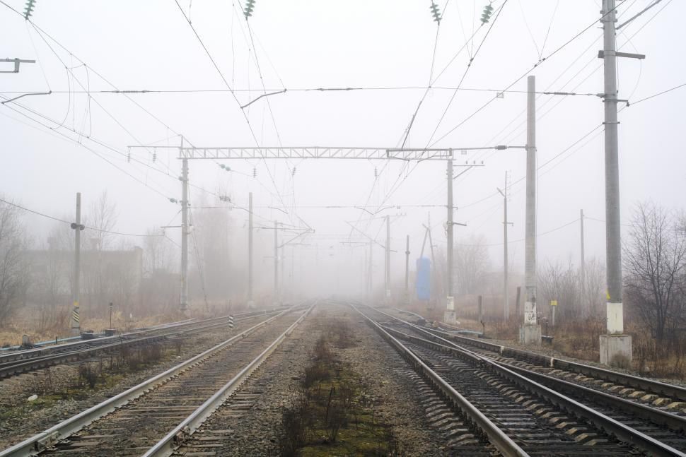 Download Free Stock Photo of Rails into the mist