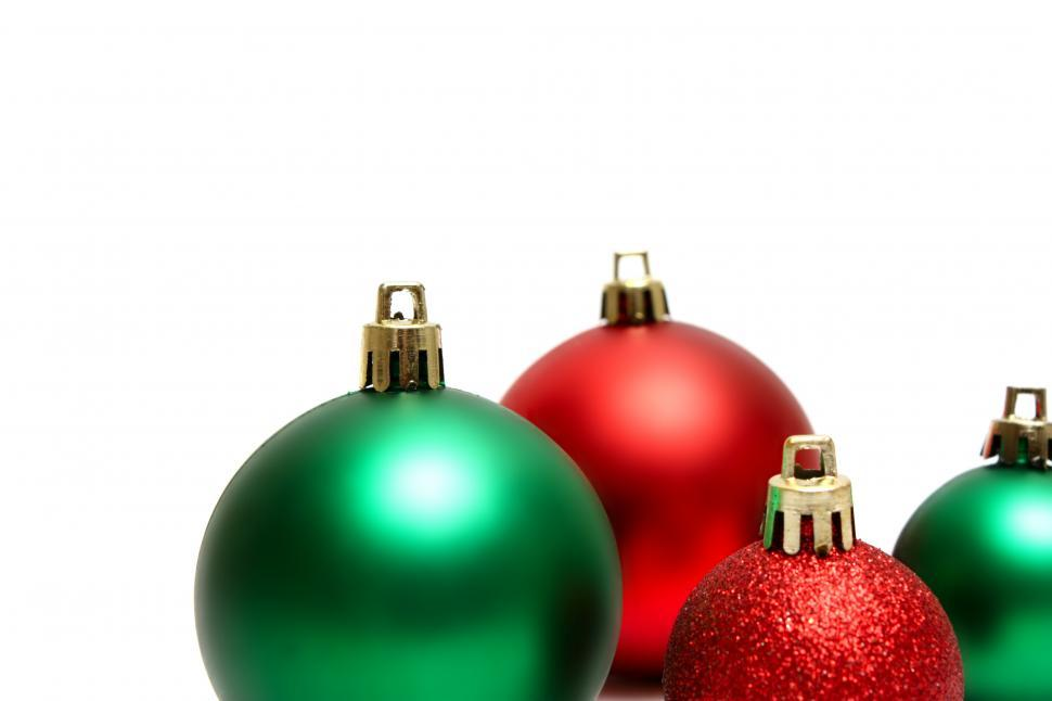 Download Free Stock HD Photo of Green and red Christmas ornaments isolated on a white background Online