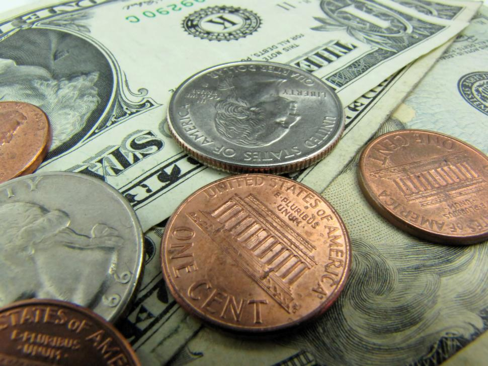 Download Free Stock Photo of Close-up of US dollars and coins
