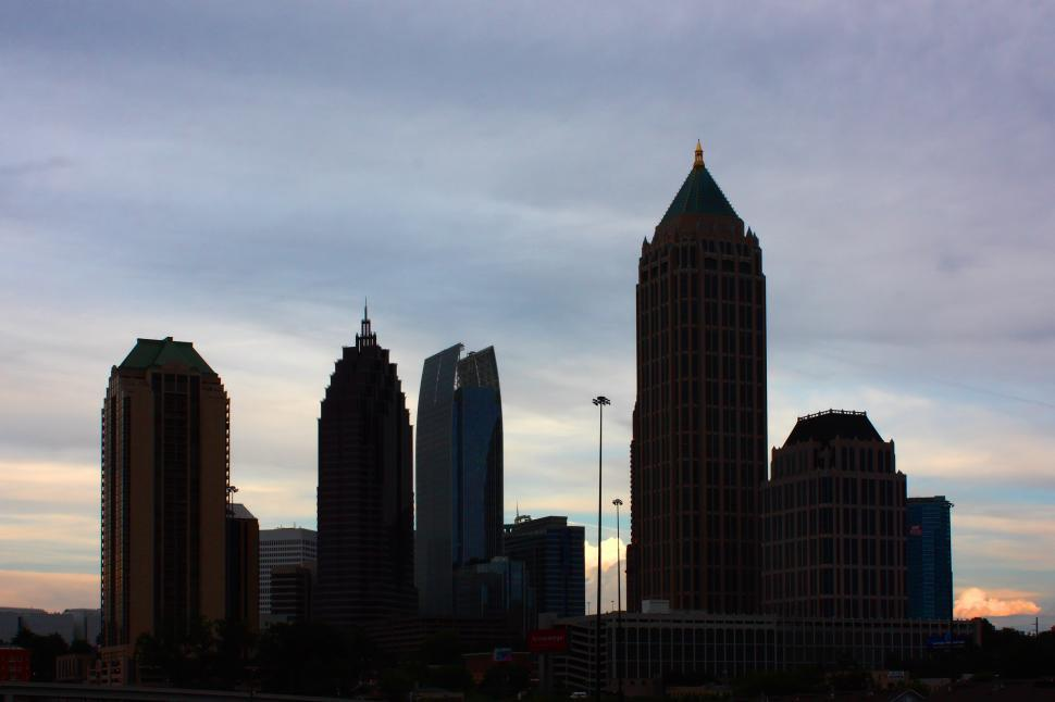 Download Free Stock Photo of Silhouette of Atlanta skyline during a sunset