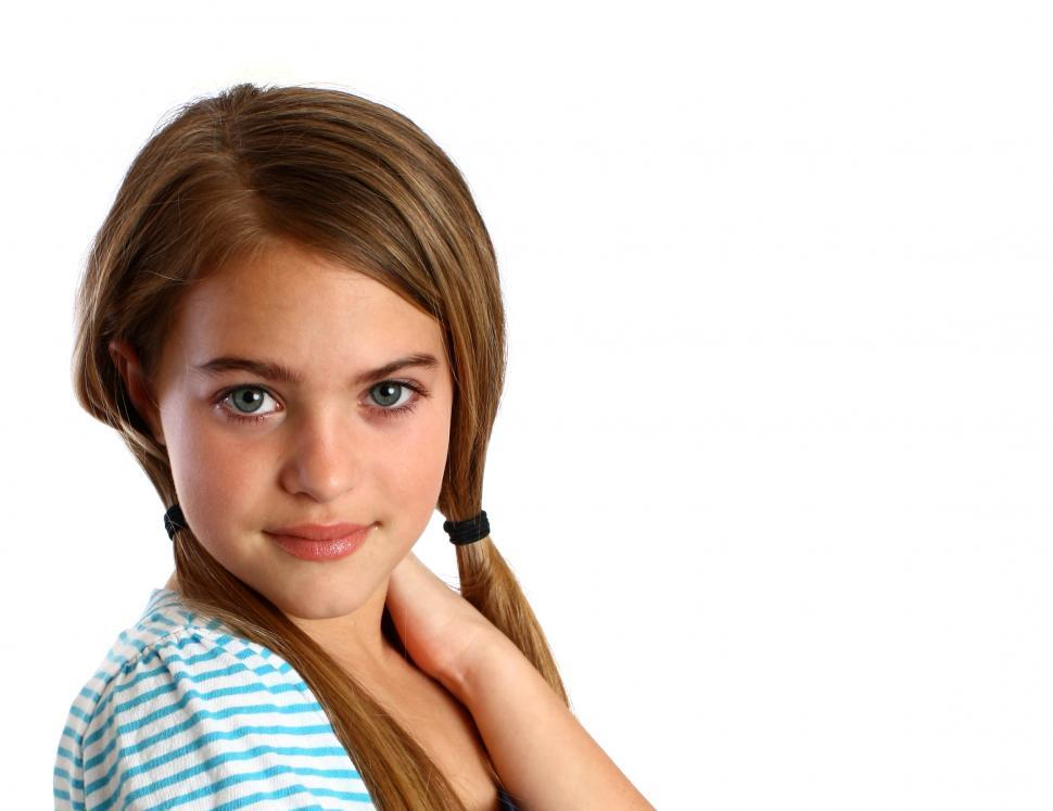 Download Free Stock Photo of A beautiful young girl isolated on a white background