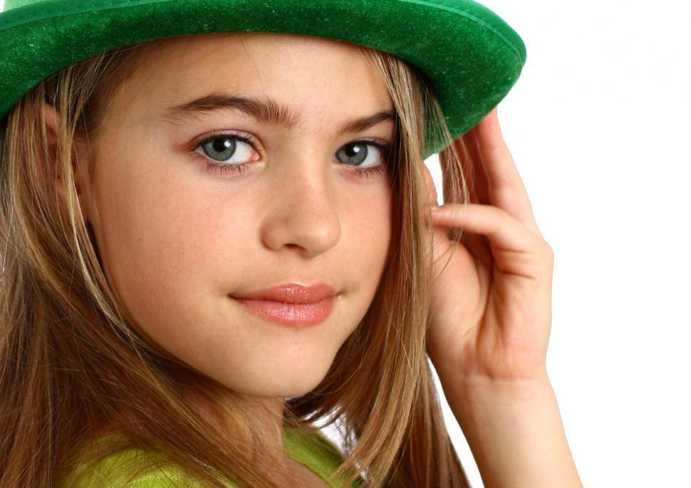 Download Free Stock HD Photo of A beautiful young girl dressed for Saint Patricks Day Online