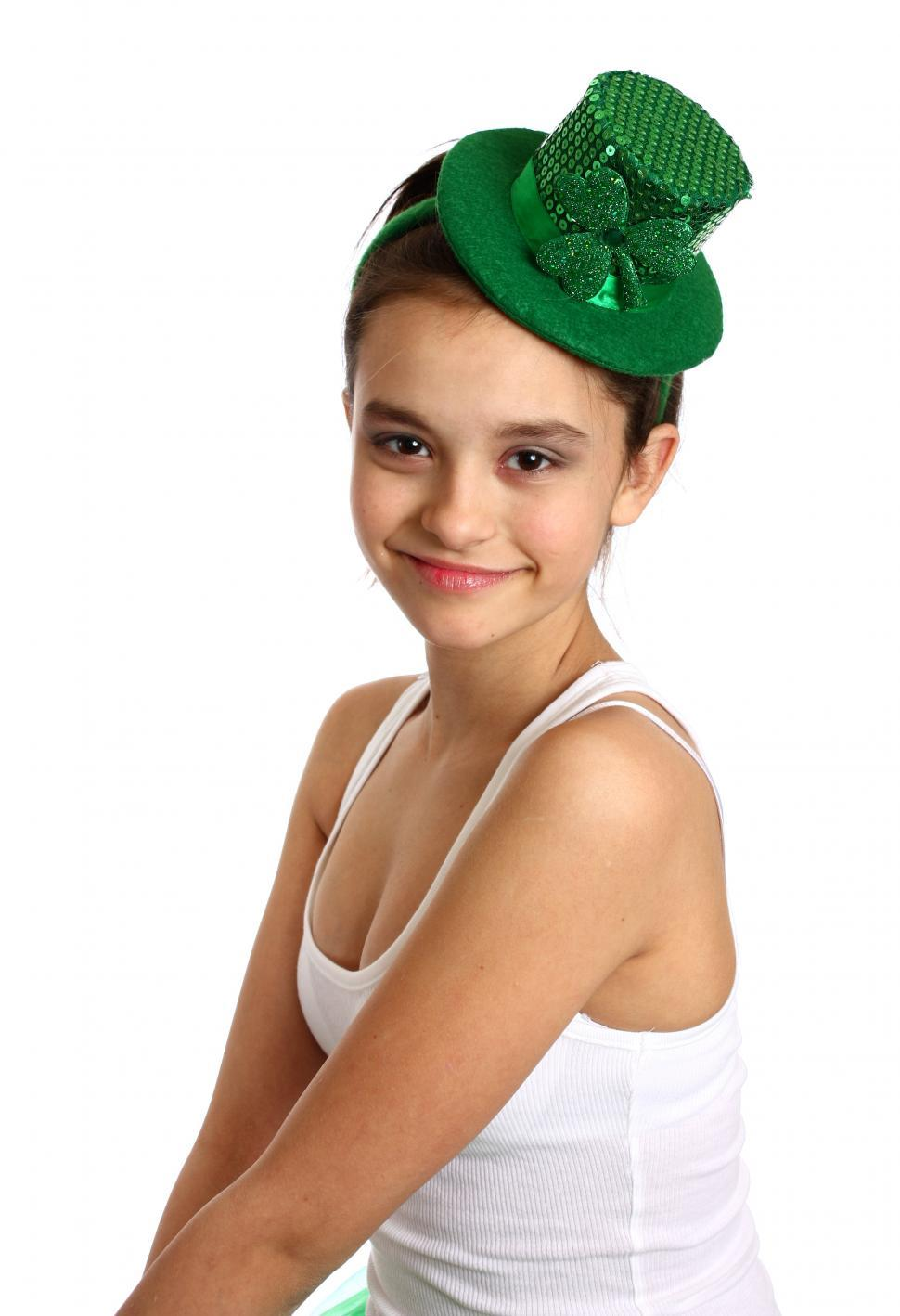 Download Free Stock HD Photo of A cute young girl dressed for Saint Patricks Day Online
