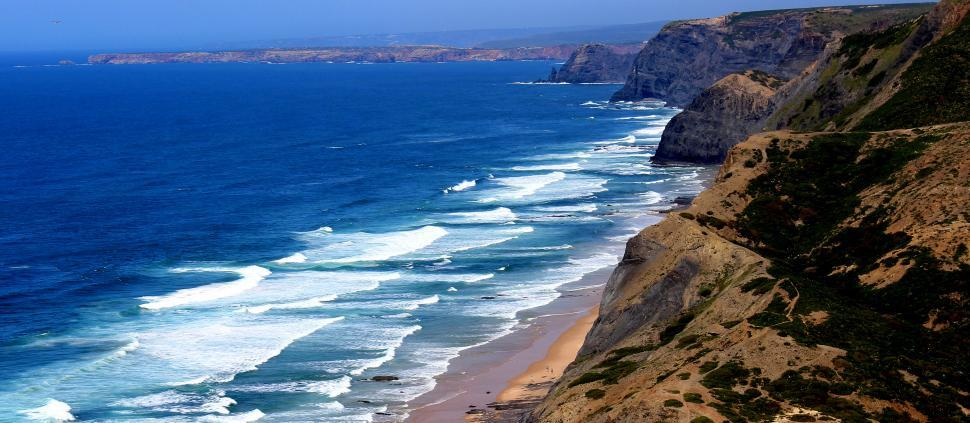 Download Free Stock HD Photo of Large coastal cliffs in the Alentejo and Vicentine Coast Natural Online