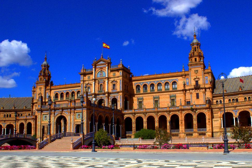 Download Free Stock HD Photo of Plaza de Espana - Spanish square in Seville, Andalusia, Spain Online