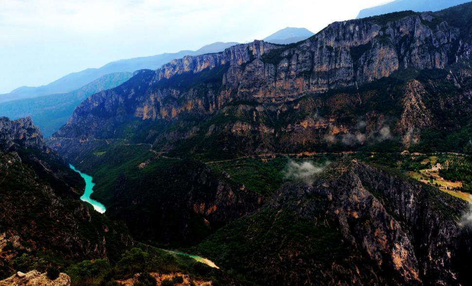 Download Free Stock Photo of Panoramic view at dusk of the Verdon Gorge in Provence, France