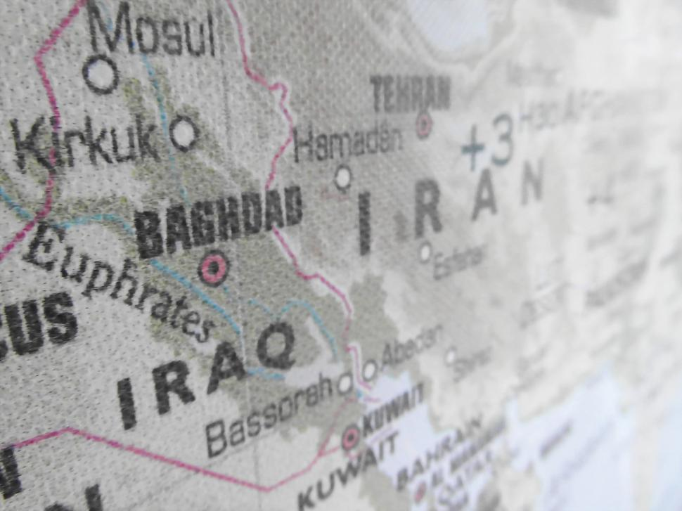 Download Free Stock Photo of Iraq Iran Map