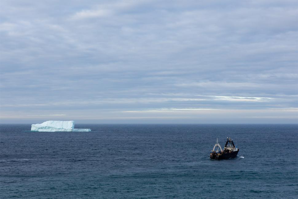 Download Free Stock Photo of Trawler and iceberg