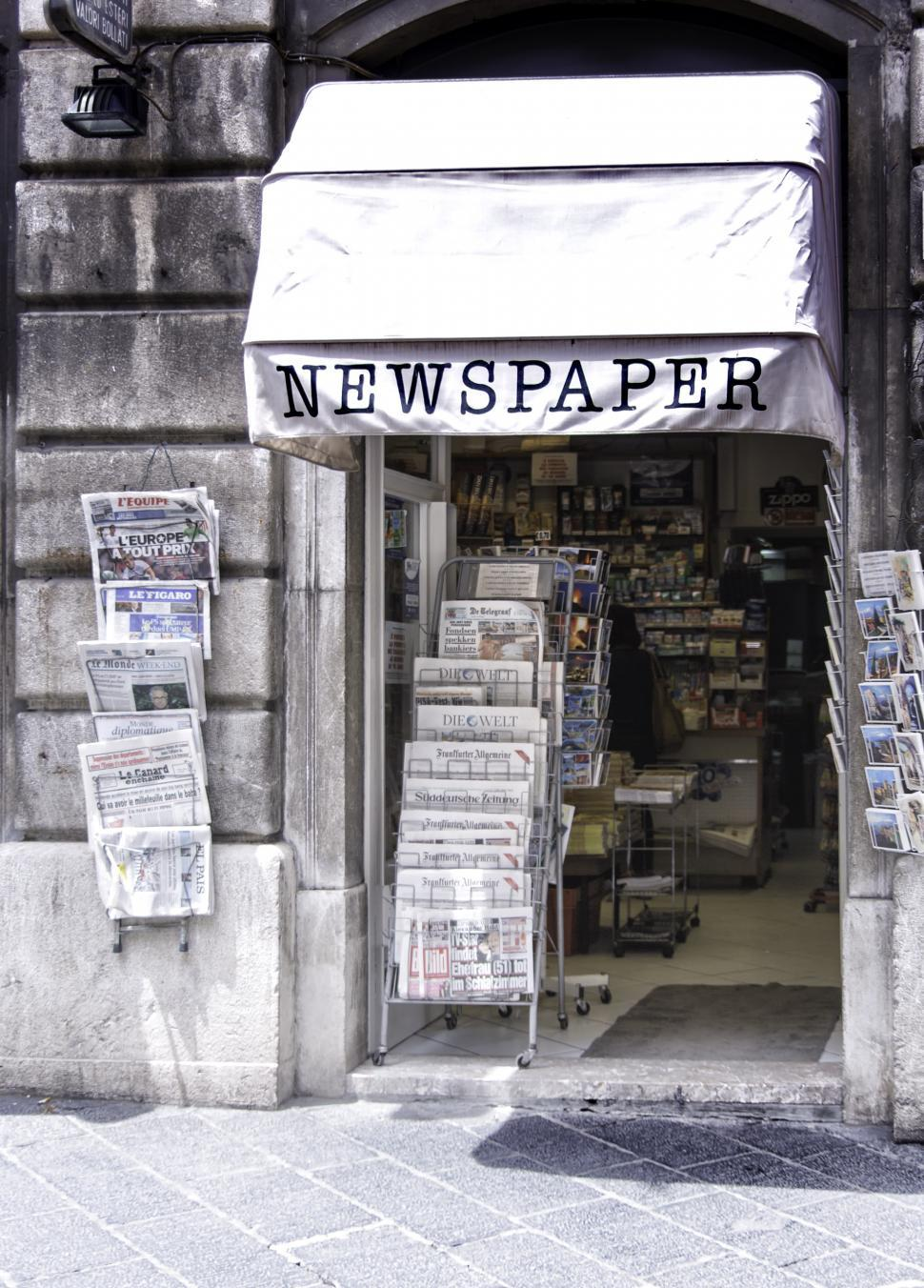 Download Free Stock Photo of Newspaper Shop