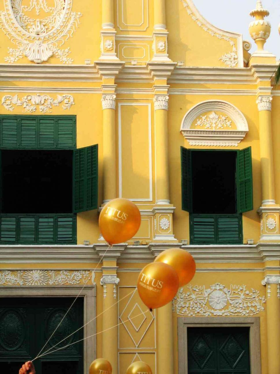 Download Free Stock Photo of Balloon over church