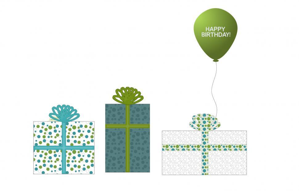 Download Free Stock Photo of Three Teal and Green Presents and Balloon