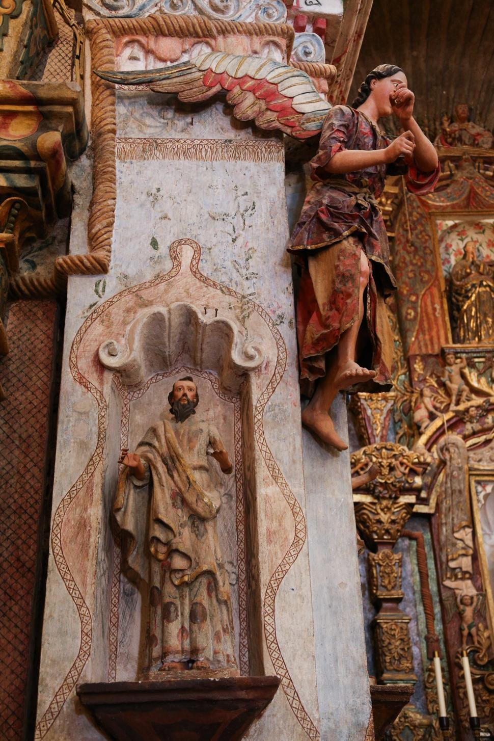 Download Free Stock Photo of Wooden Figures at San Xavier