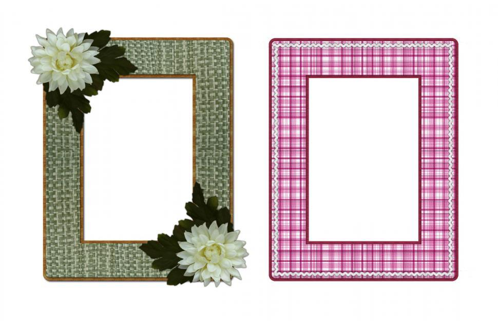 Download Free Stock Photo of Two Picture Frames, Green Textured and Pink Plaid
