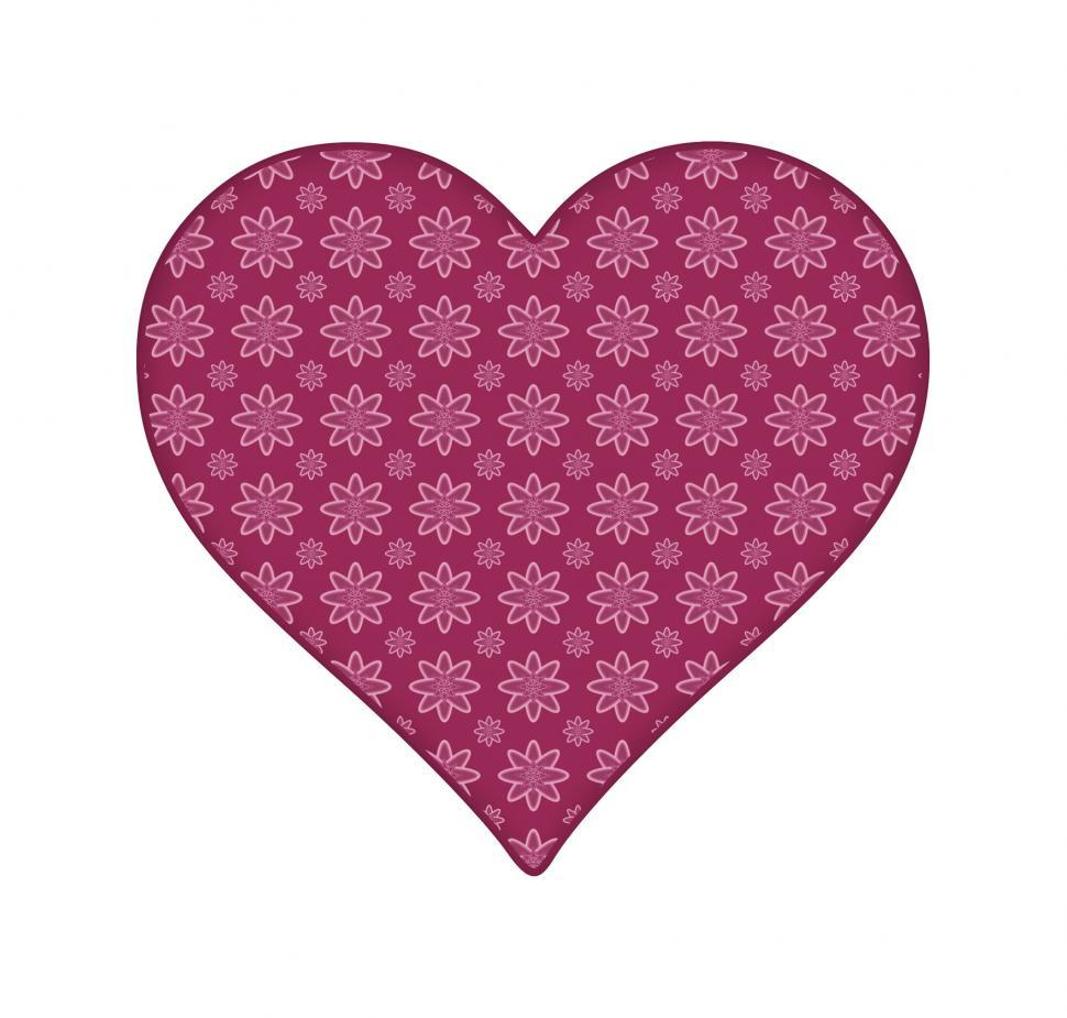 Download Free Stock Photo of Pink Heart With Floral Pattern