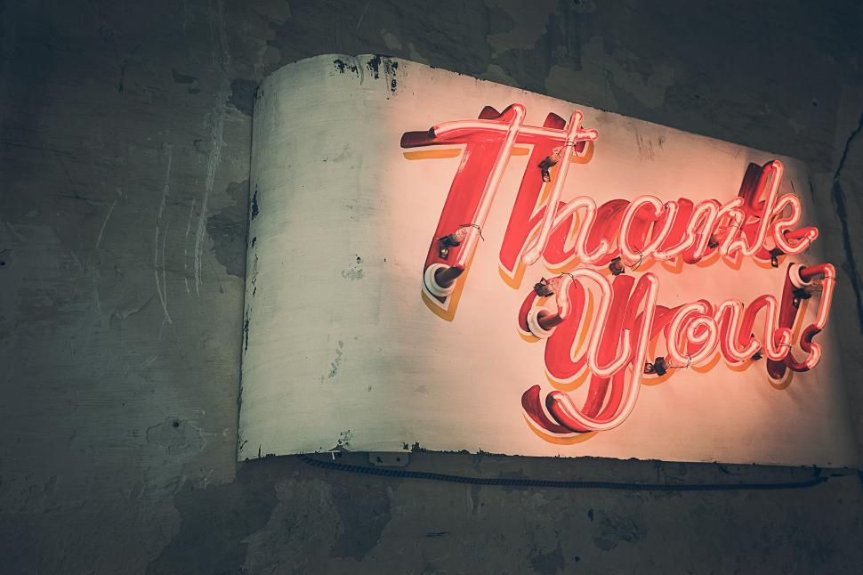 Download Free Stock Photo of Thank You neon