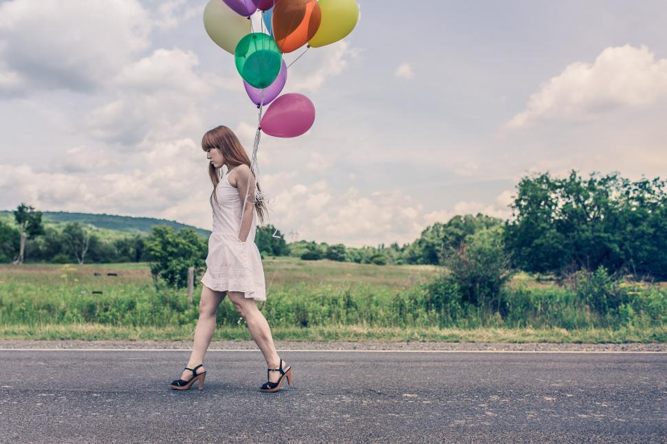 Download Free Stock Photo of Girl with balloons