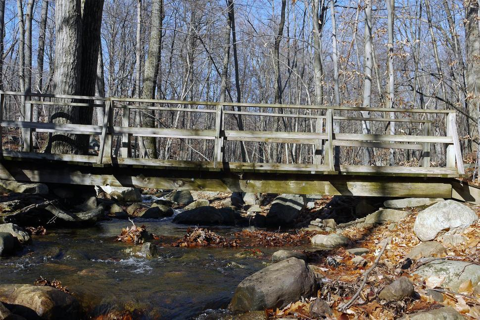 Download Free Stock Photo of Wooden Bridge and Stream