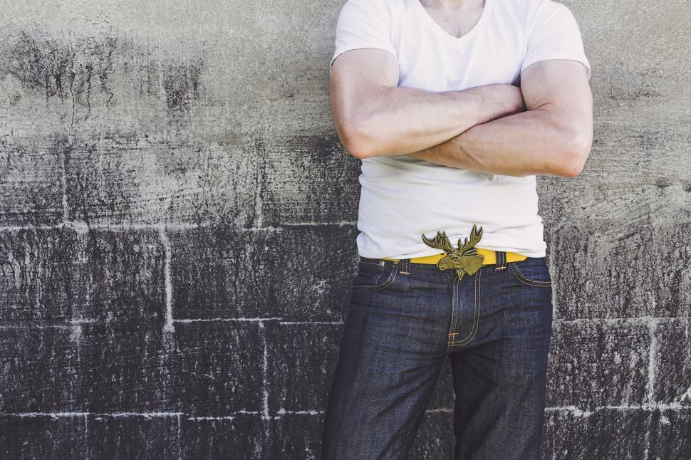 Download Free Stock Photo of Man Standing with Moose buckle