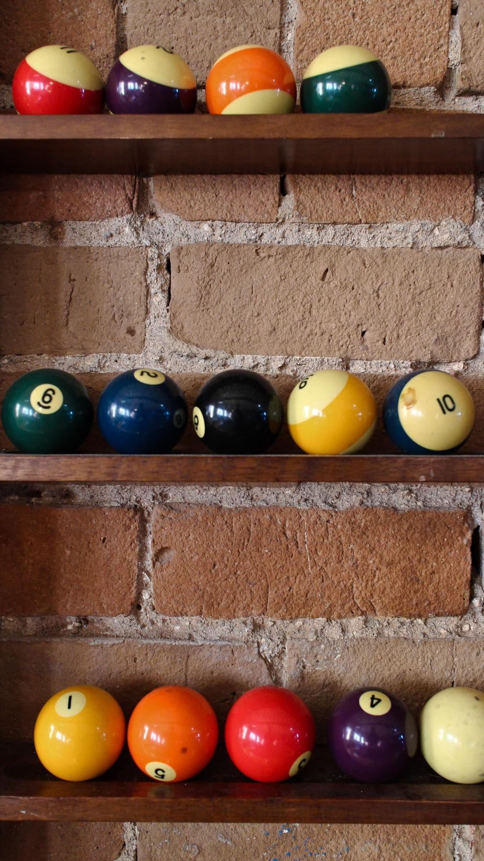 Download Free Stock HD Photo of Pool balls in a rack Online
