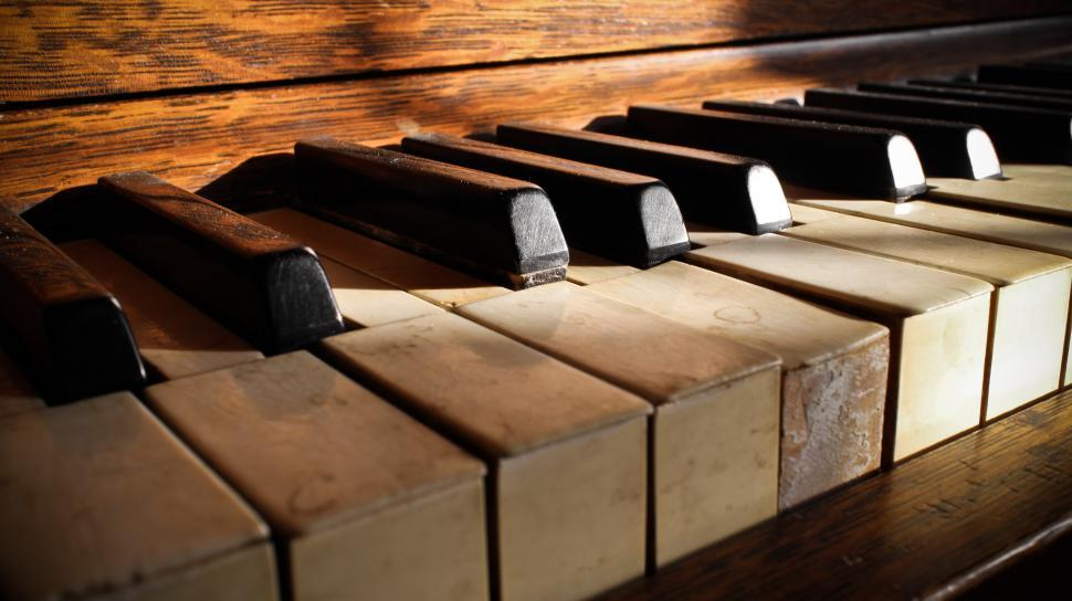 Download Free Stock Photo of Old Piano Keys