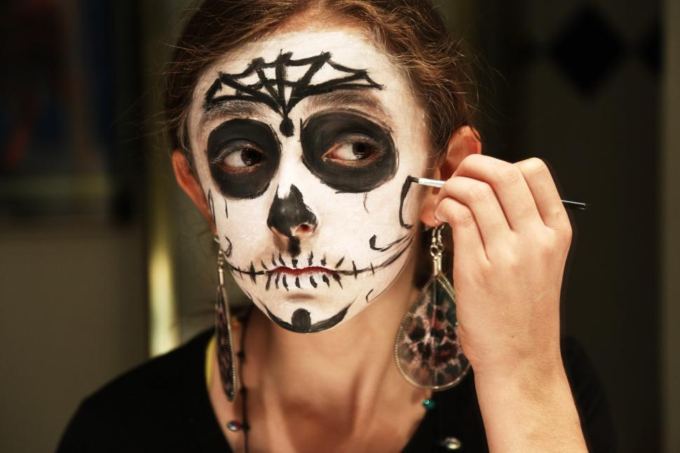 Download Free Stock HD Photo of Girl in Day of the Dead Make Up Online