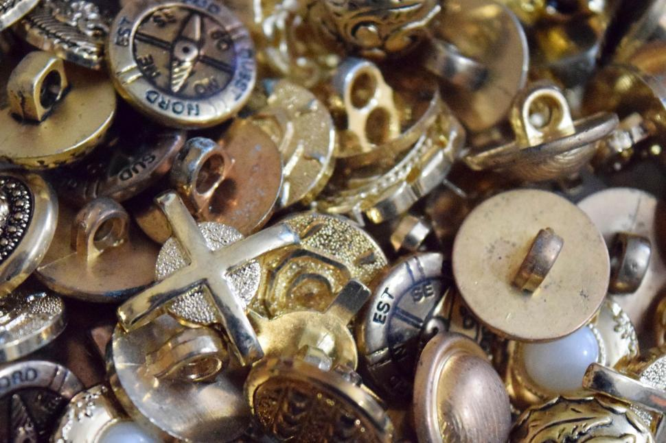Download Free Stock Photo of Gold Buttons