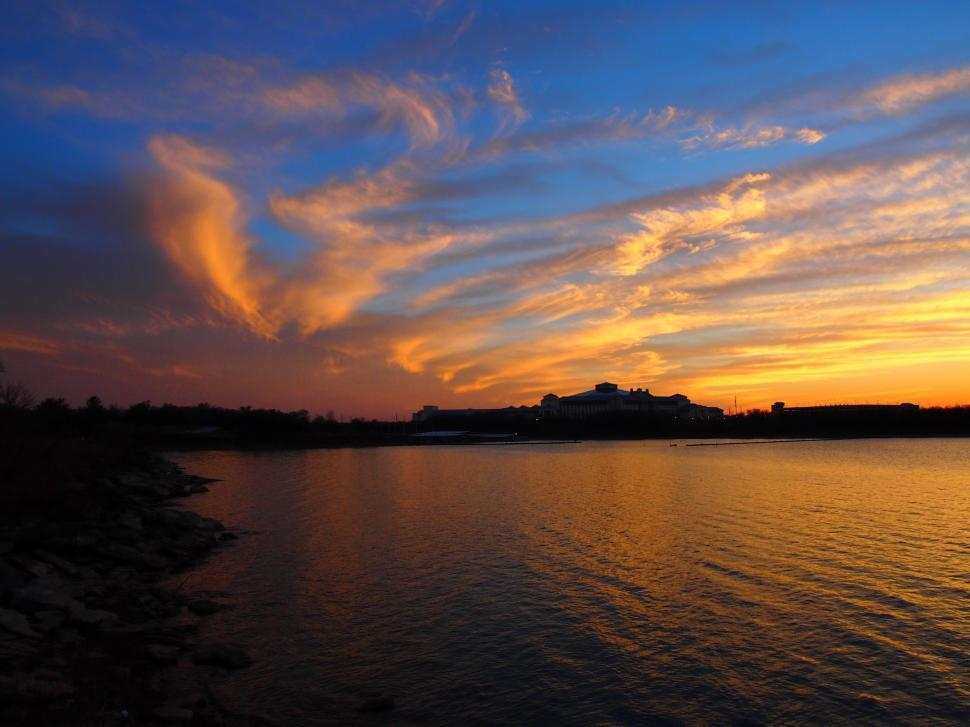 Download Free Stock HD Photo of Beautiful orange and blue sunset Online