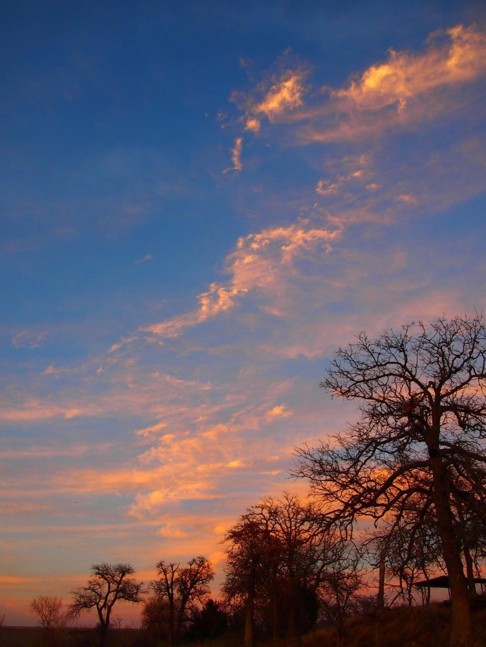 Download Free Stock Photo of Beautiful orange and blue sunset