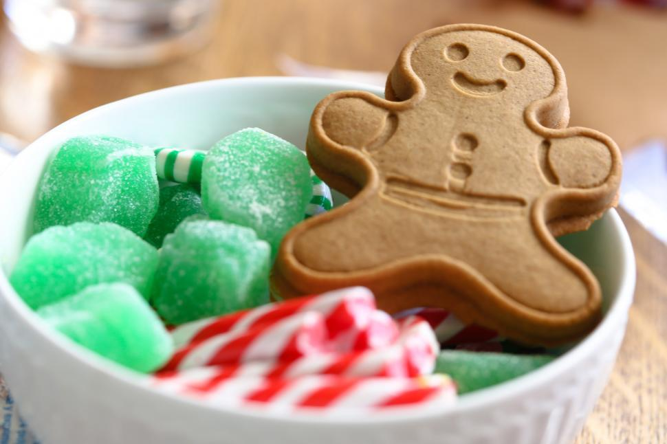 Download Free Stock HD Photo of Gingerbread man and Jelly cubes Online