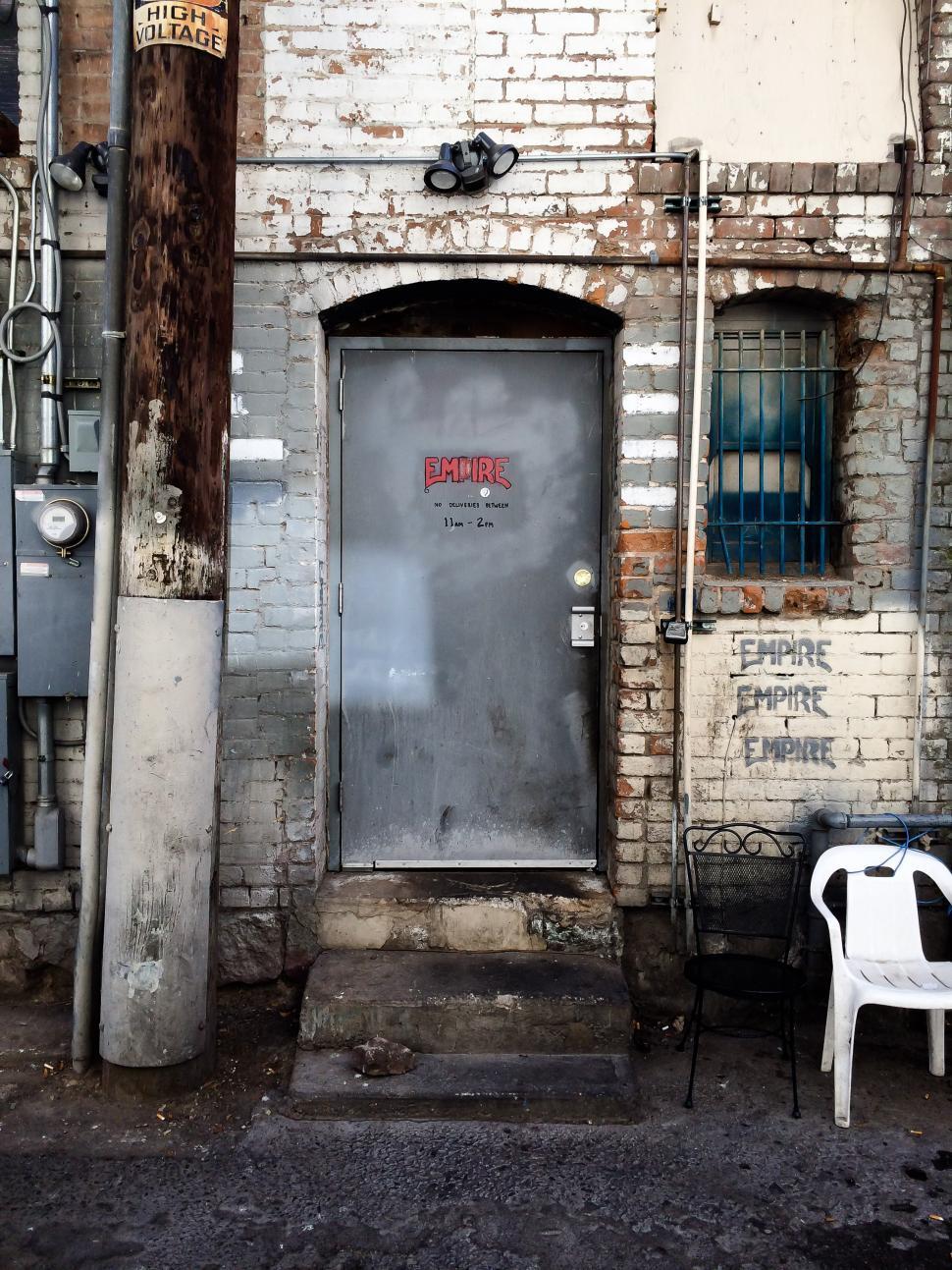 Download Free Stock Photo of Alley back door