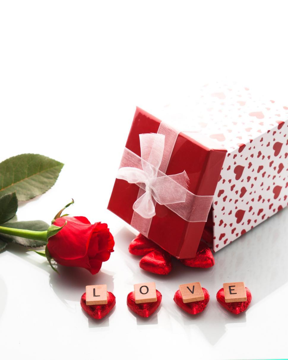 Download Free Stock Photo of Love Gift with Rose