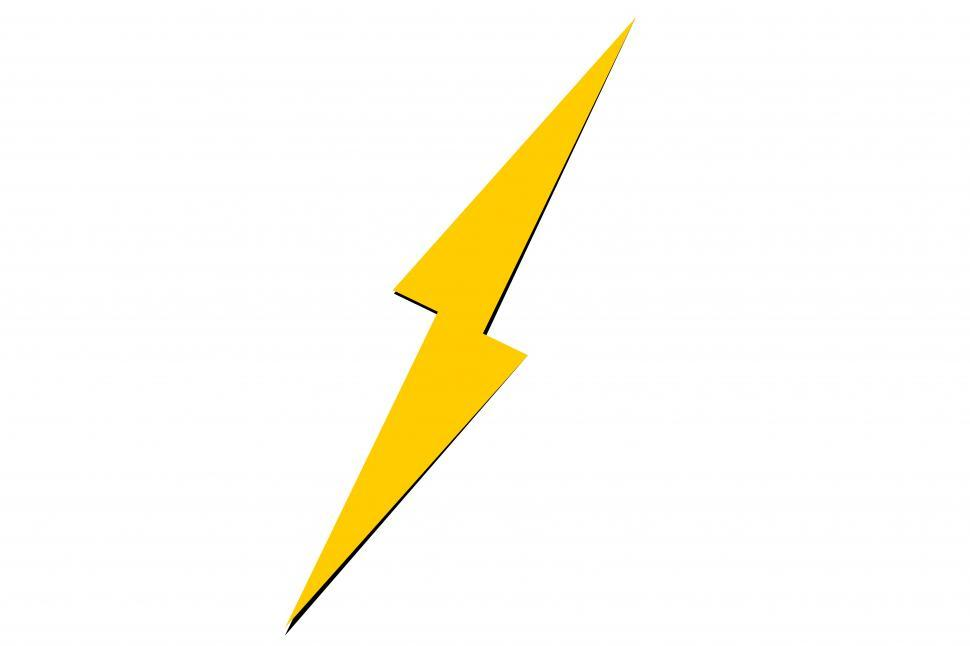 Download Free Stock Photo of Yellow lightning bolt sign