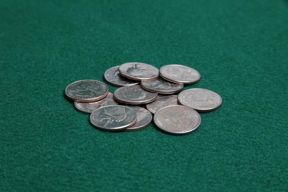 Download Free Stock Photo of Pile of quarters