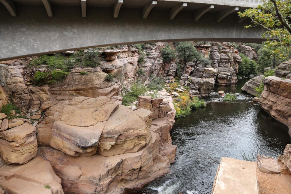 Download Free Stock HD Photo of Bridge at Slide Rock State Park Online