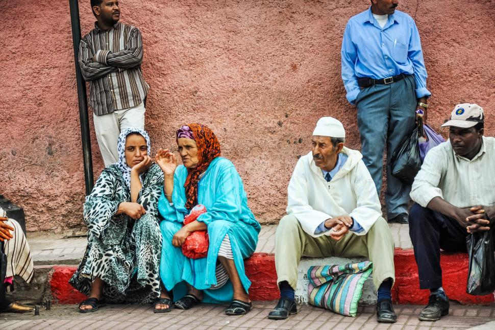 Download Free Stock Photo of Arabic people waiting for public transport