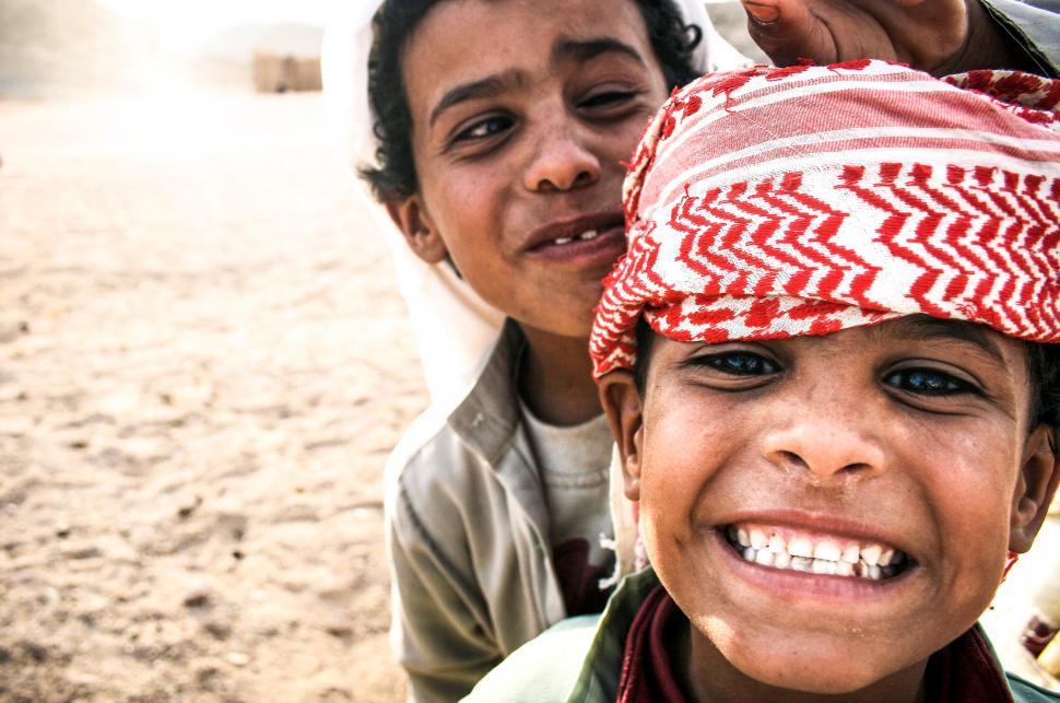 Download Free Stock Photo of Bedouin arabic children in Egypt