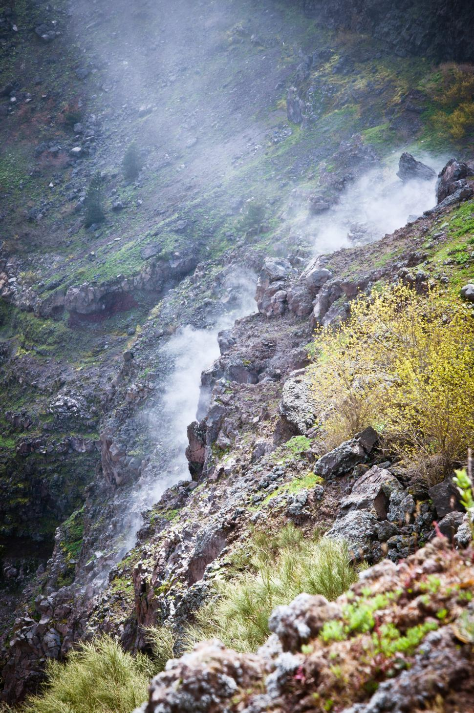 Download Free Stock Photo of Vesuvio Volcano crater smoke