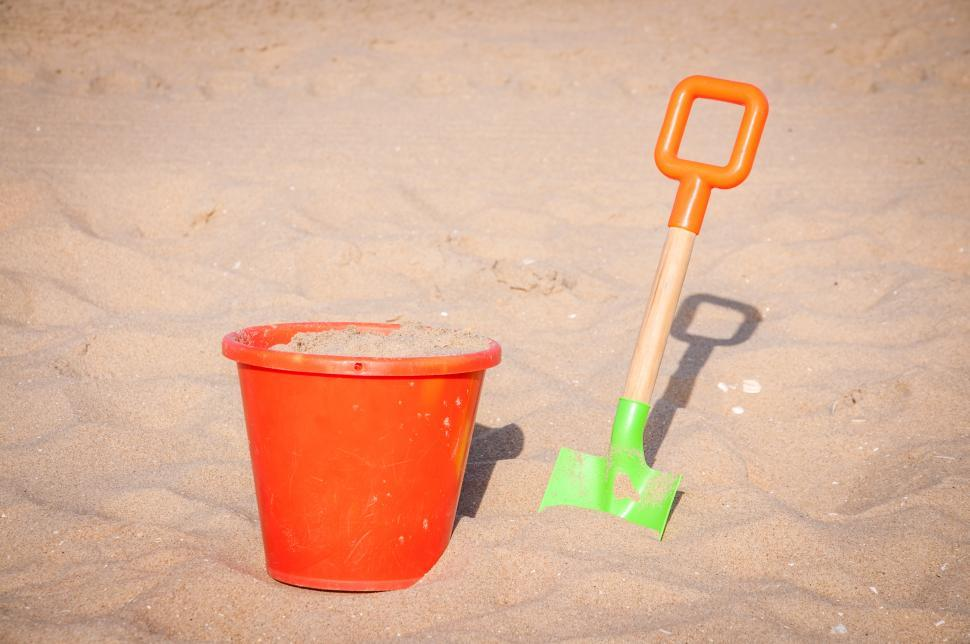 Download Free Stock HD Photo of Childrens beach toys - buckets, spade and shovel  Online