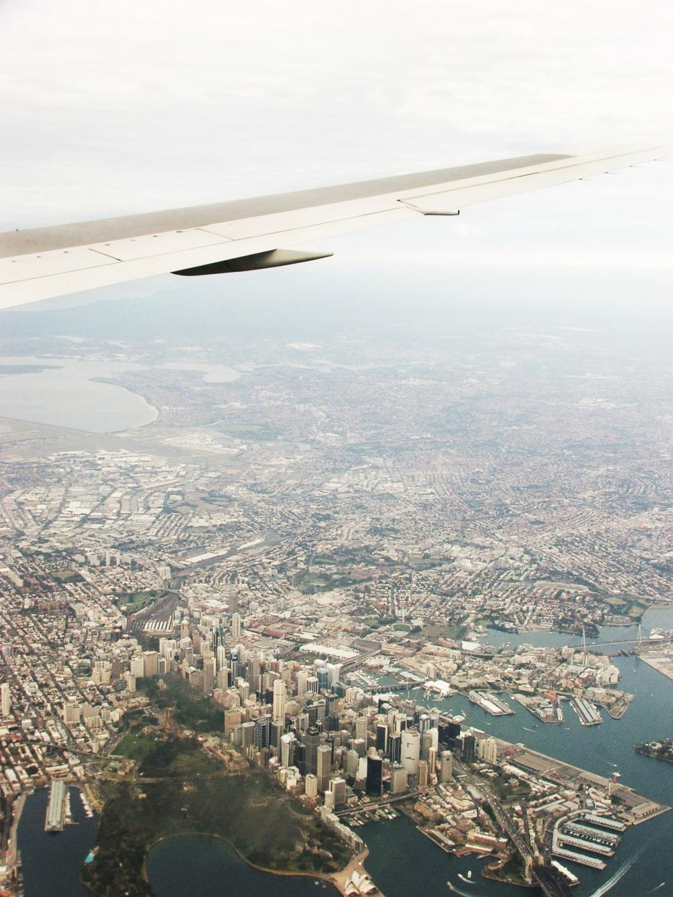 Download Free Stock HD Photo of City birds eye view from plane Online