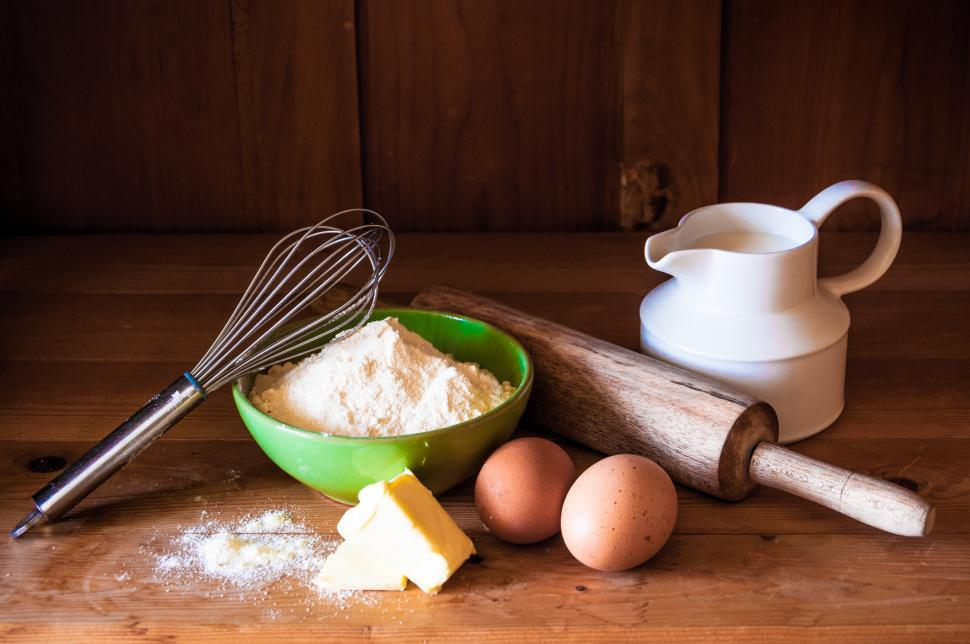 Download Free Stock Photo of Baking cake ingredients, milk, flour, eggs
