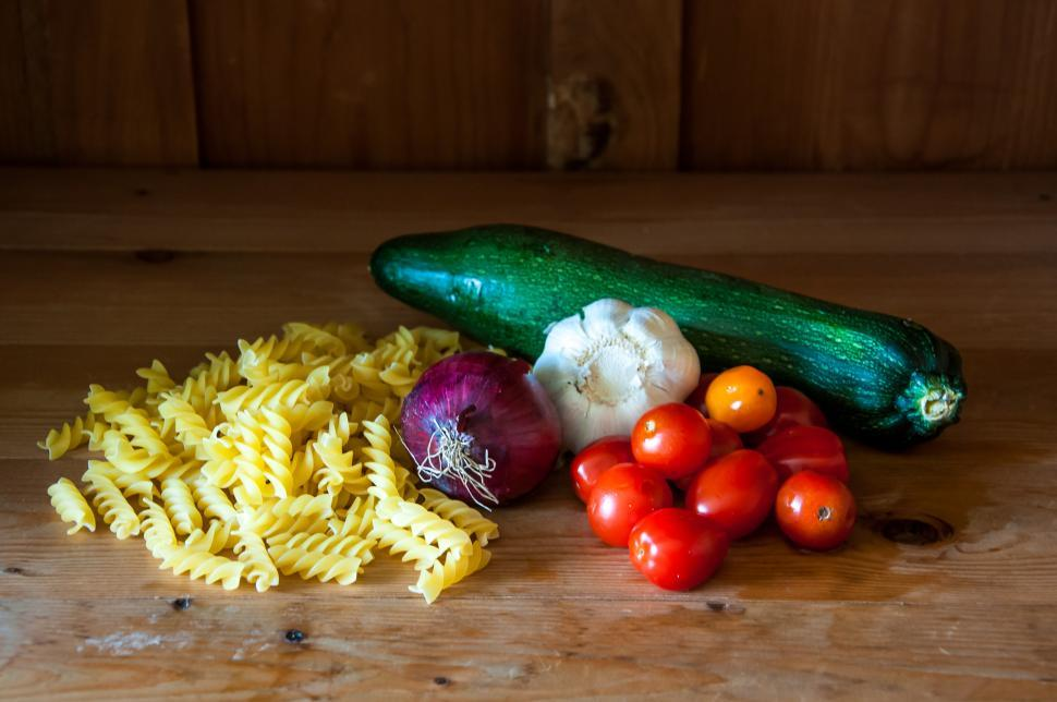 Download Free Stock HD Photo of Pasta and fresh vegetables Online