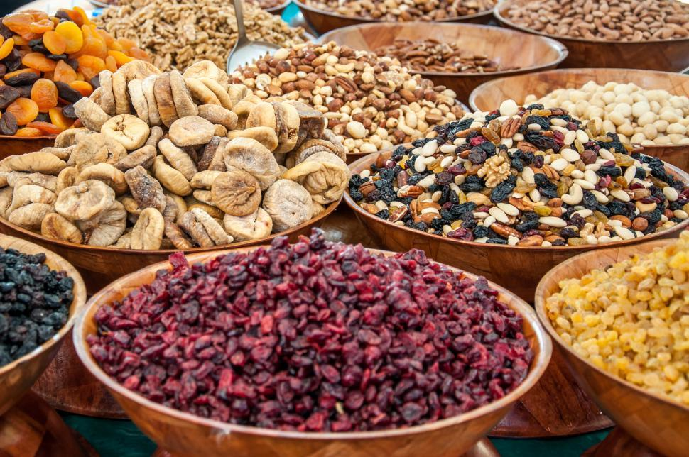 Download Free Stock Photo of Dry fruits and nuts at market
