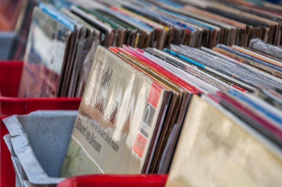 Download Free Stock HD Photo of boxes with vinyl turntable records on a flee market Online