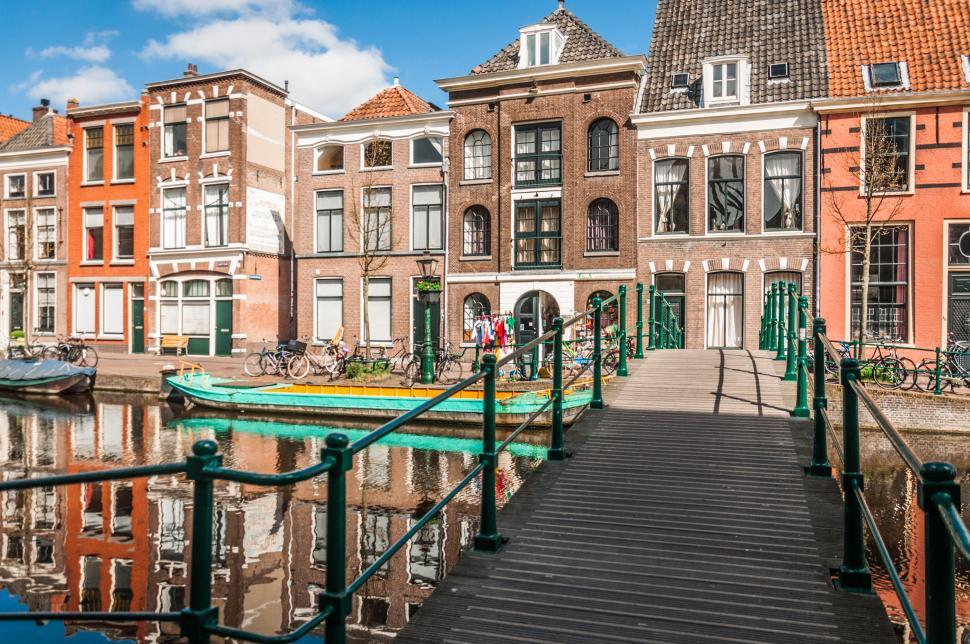 Download Free Stock Photo of dutch canal and houses