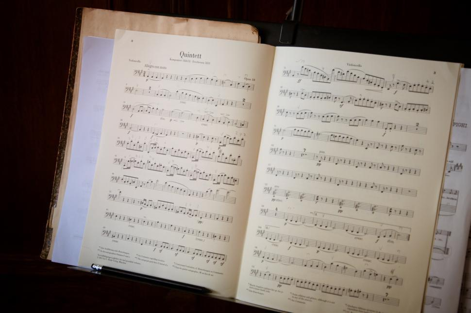 Download Free Stock Photo of OPen music book and notes