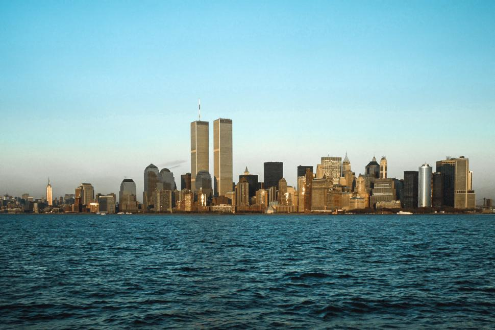Download Free Stock Photo of Skyline of Manhattan seen from the Staten Island Ferry